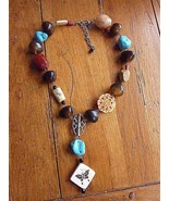 CHICO'S Silvertone Chunky Necklace Faux Turquoise Stones Butterfly - $24.45