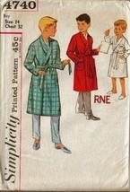 UNCUT Vintage Simplicity Pattern 4740 Boy's ROBE w/Transfer, Sz 14 - $12.99