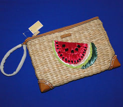 Michael Kors Malibu Watermelon Woven Straw XL Zip Clutch image 7