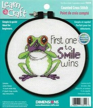 First One to Smile Wins Frog Learn a Craft Counted Cross Stitch Kit 73519 - $4.79