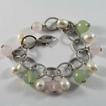 .925 RHODIUM SILVER BRACELET WITH  BAROQUE WHITE PEARLS, JADE AND PINK QUARTZ image 1