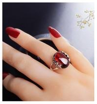 Retro Thailand Silver Color Red garnet Gemstone Ring For Women Green Jad... - $27.08