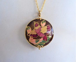 Cloisonne Enamel Bird Pendant Necklace Brown 2 Sided With Gold Filled Ch... - $38.00