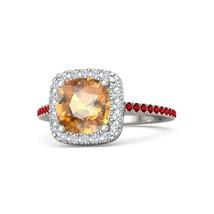 Fancy Halo Design Orange Diamond Womens Anniversary Ring In Solid 14k White Gold - $459.99