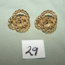 Vintage Sarah Coventry Gold Metal Circle Clip-On Earrings-Lot 29 - $8.15