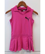 K4568 Girls PUMA pink sleeveless KNIT DRESS, pleated skirt, collar, puma... - $21.23