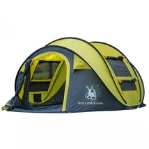 Yellow Outdoor Automatic Throw Tent Waterproof Camping Hiking Family Tent - $149.95