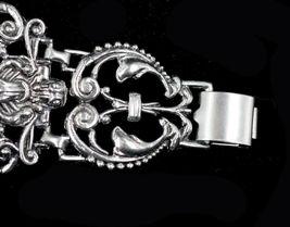 """Vintage Victorian Revival Gothic Gargoyal Lion Ornate Heavy Link Bracelet 7.5"""" image 4"""