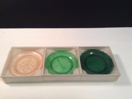 Pairpoint Glass Cup Plates Boxed Set Fox Glove 350th Anniversary Cape Co... - $18.49