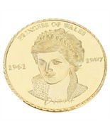 Fortune Wales Diana Princess Rose Coin Gold Plated Commemorative Collect... - $4.99