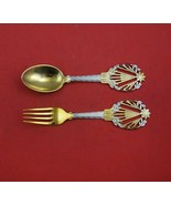 Christmas by A. Michelsen Sterling Silver Fork and Spoon Set 2pc 1922 Holly - $404.91