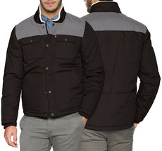 Levi's Men's Mixed Media Puffer Jacket Quilted Shirttail Two Tone Work Wear Coat image 1