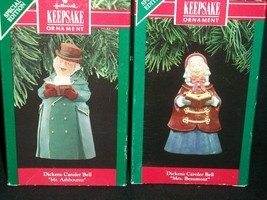 Hallmark Ornament 1990-1991 Dickens Caroler Bell Mrs. Beaumont Mr. Ashbourne - $48.37