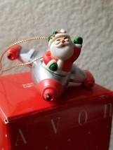 Vintage Avon Super Sonic Santa Light Up Ornament NIB Santa on an Airplane - $18.99