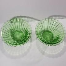 Lot of 2 Jeannette Sierra Pinwheel Green Depression Glass Bowl 8.5 Inch ... - $39.59