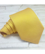 Mens tie Gold new classic solid 100% silk Made in Italy business weddings - $28.40