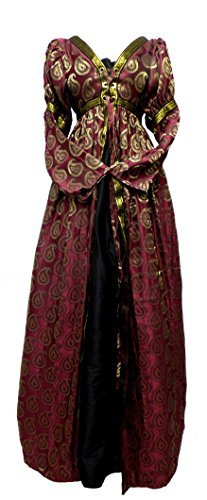 Italian Renaissance Borgia Costume Over Dress (L/XL, Burgundy Brocade)