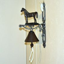 Painted Cast Iron Country Western Farm Horse Equine Decorative Mounted Bell image 5