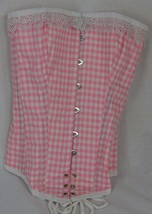 Pink Gingham with Lace Ladies Corset - $69.95