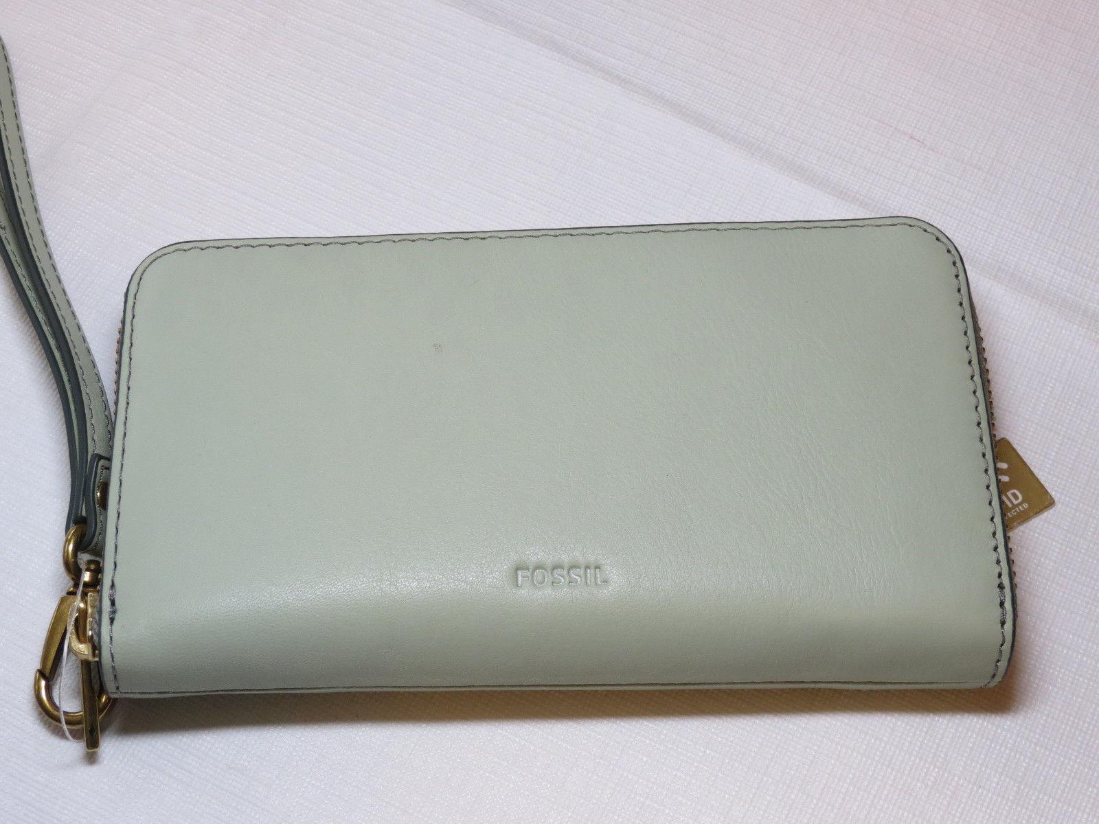 Fossil SL7151336 RFID Emma Smartphone Wristlet Lght Sage wallet clutch leather*^ image 7