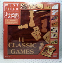 West Field 11 Classic Games In Wood Game Board & Storage Box New Free Shipping - $25.99