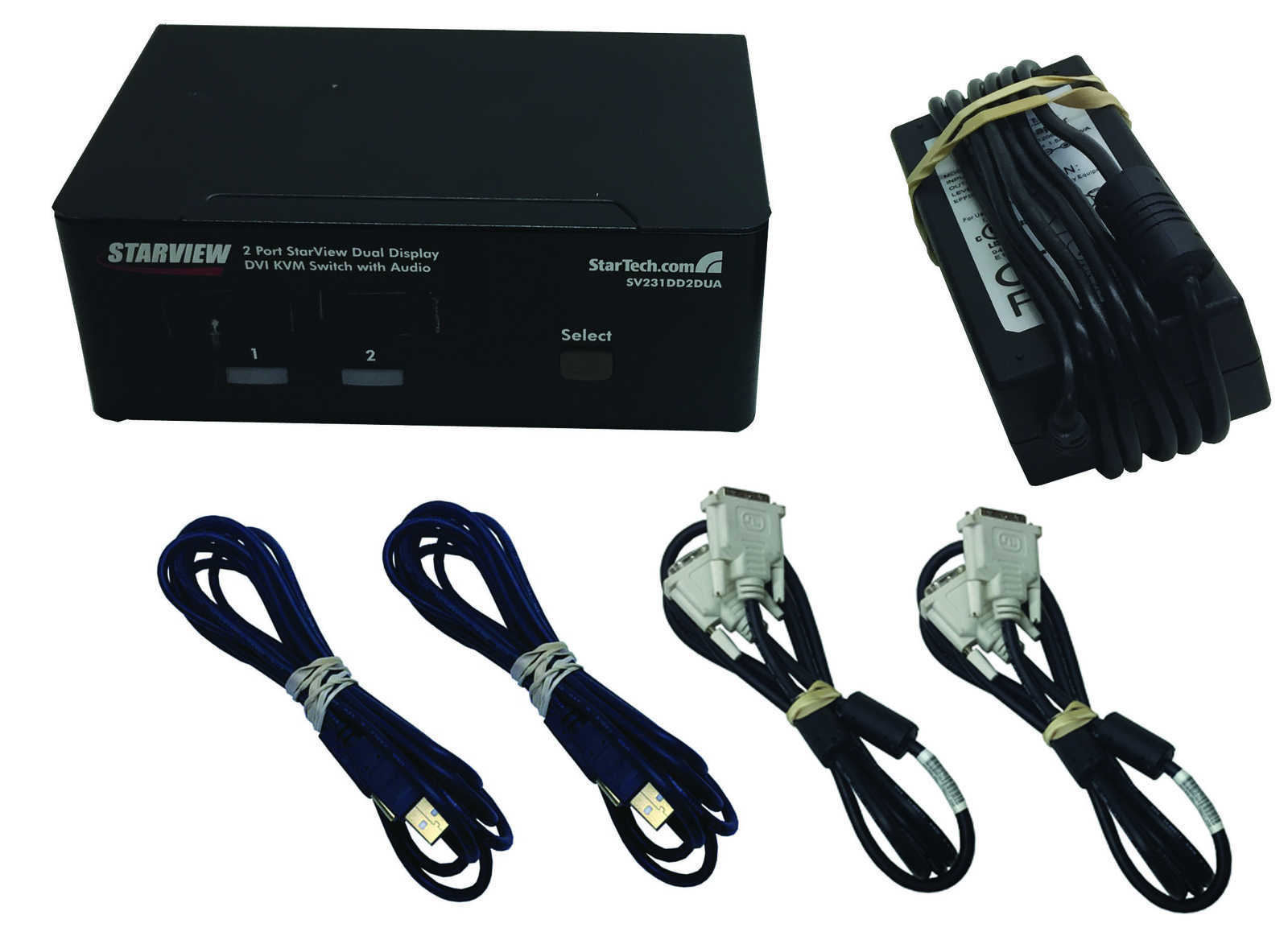 DISCOUNTED 2 Port Dual DVI USB KVM Switch with Audio & USB 2.0 Hub
