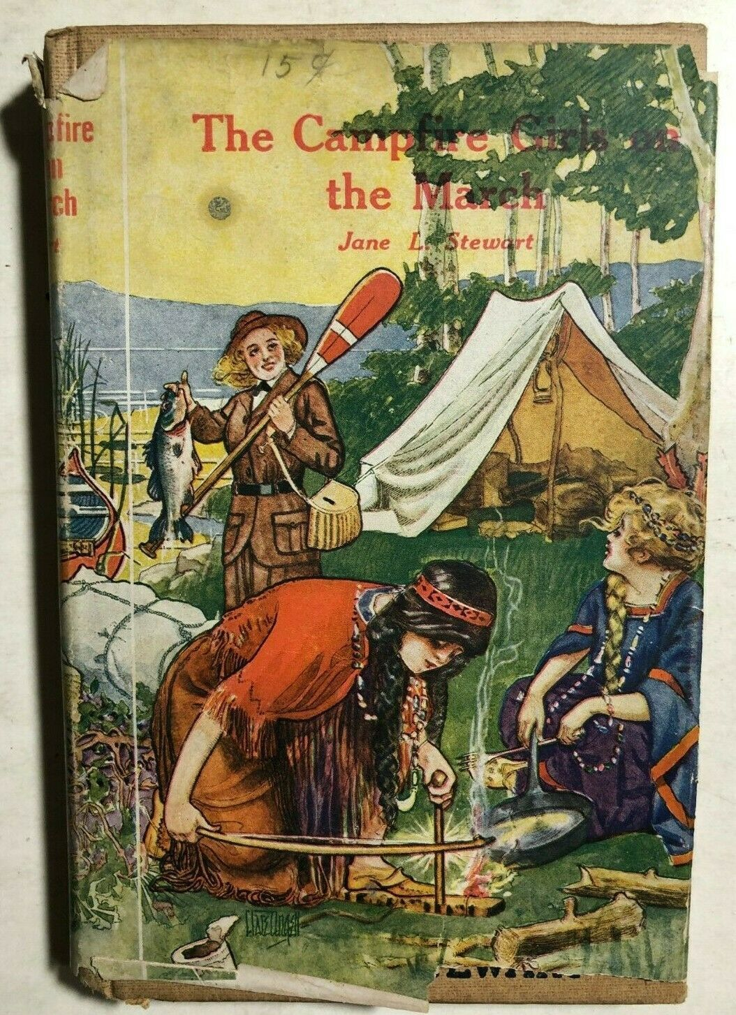Primary image for THE CAMPFIRE GIRLS GO ON THE MARCH by Jane L. Stewart (1914) Saalfield HC