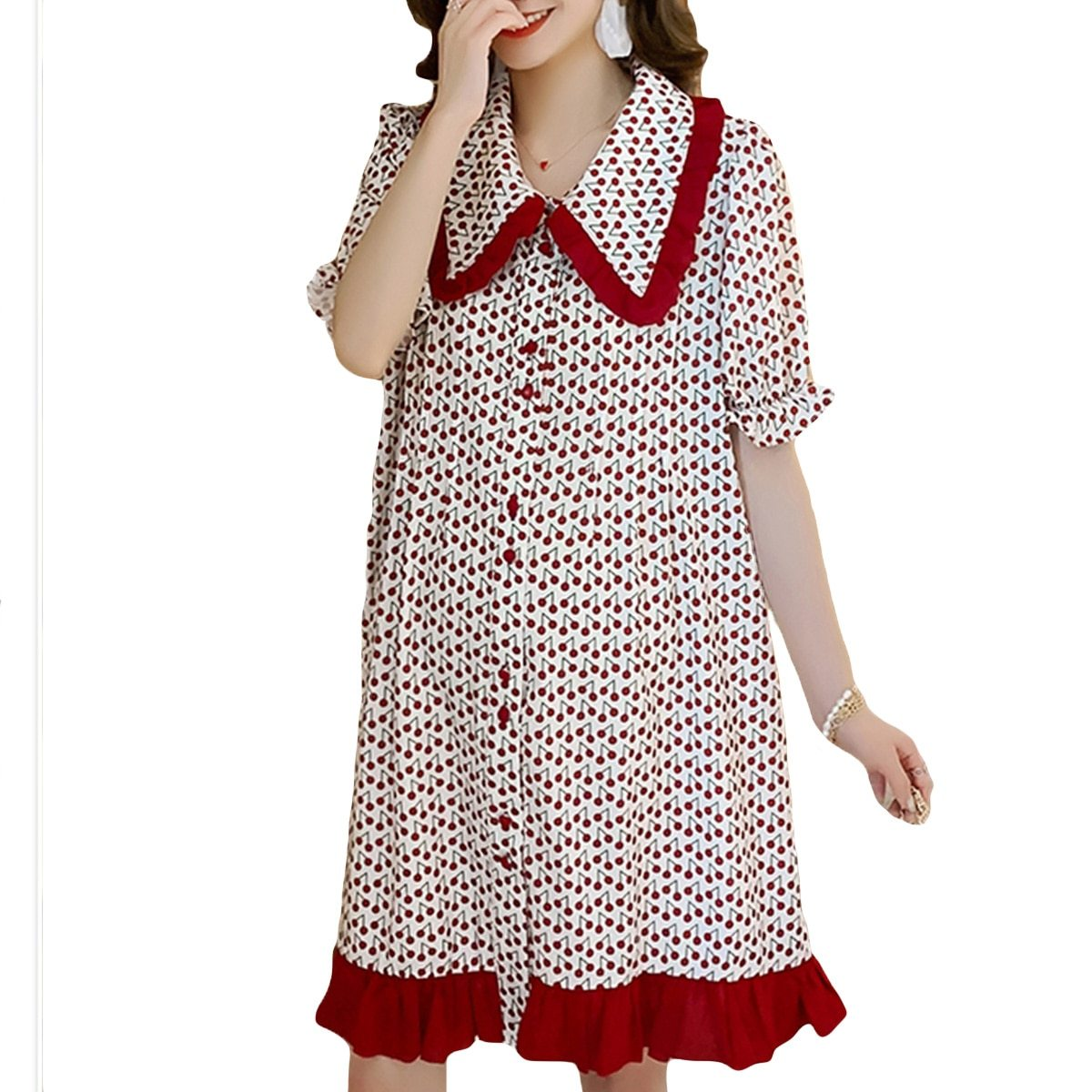 Maternity Dress Cherry Printed Turn Down Collar Short Sleeve Loose Dress