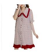 Maternity Dress Cherry Printed Turn Down Collar Short Sleeve Loose Dress - $35.99