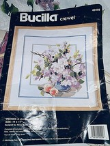Bucilla Peonies & Lilacs Crewel Kit #40499 1990  Framed 14 x 14 Finished... - $15.13