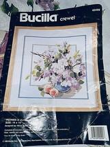 Bucilla Peonies & Lilacs Crewel Kit #40499 1990  Framed 14 x 14 Finished... - $15.13