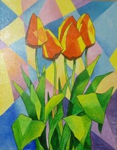 "Akimova: TULIPS, abstract, acrylic, 16""x20"" - $25.00"