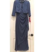 Alex Evenings Empire Waist Bolero Jacket Dress Blue Evening Gown Mother ... - $179.00
