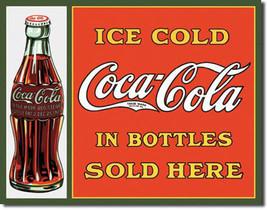 Ice Cold Coca-Cola in Bottles Sold Here Coke Vintage Soda Pop Metal Sign - $19.95