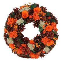 "13"" Autumn Harvest Hydrangea Pine Cone Artificial Thanksgiving Wreath - ... - $55.95"
