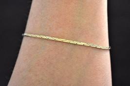 "Vintage Delicate Minimalist Herringbone Chain Bracelet Gold Tone 7.75"" - $8.59"