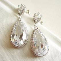 Statement Teardrop Cubic Zirconia Earrings - Sterling Silver - $58.00