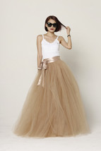 Women 4-layered Full Tulle Skirt High Waist Floor Length Tulle Skirt (US0-US30) image 7