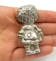 MEXICO 925 Silver - Vintage Sculpted Little Girl Motif Brooch Pin - BP4307 - $55.34