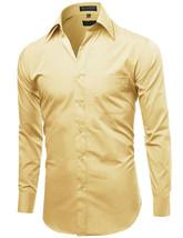 Omega Italy Men's Long Sleeve Solid Regular Fit Light Yellow Dress Shirt - L image 2
