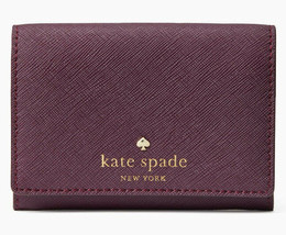 NWT Kate Spade mikas Christine Leather Wallet Deep Plum + 25% off next o... - $47.99