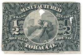 TF5 Manufactured Tobacco Stamp, Series of 1868, 1/2 pound, 32 cents - $93.75