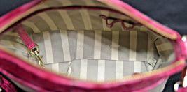 NWT Brahmin Mini Duxbury Shoulder Bag in Punch Harbor, Pink Leather/Beige Fabric image 6