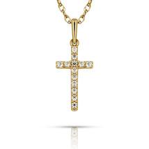 0.31Ct Round White Sapphire Cross Religious Charm Pendant 14k Solid Yell... - $86.11+