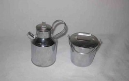 """Neat 3"""" and 4 1/2"""" Metal Figural Milk Can And Pail Cream And Sugar Set - $21.14"""