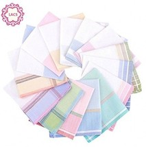 La Closure Women Woven Stripe Handkerchiefs Wedding Party Cotton Hankies - $12.23