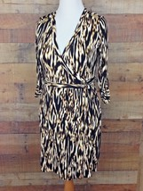 Calvin Klein V-Neck Wrap Animal Print Dress Belt Roll Tab Sleeve Size 8 ... - $31.64