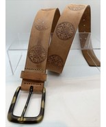 Women's Brown Natural Leather Belt Boho Gypsy Embossed Brass Buckle sz M - $15.15