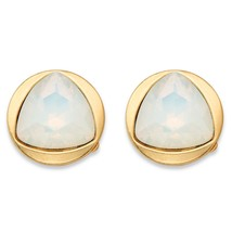 Triangle-Cut Milky White Crystal Gold Tone Bezel-Set Stud Earrings (14mm) - $10.52