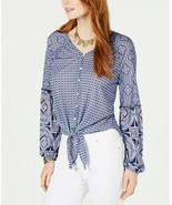 Women's Style & Co Boho Mixed-Print Tie-Front Button-Up Hi-Low Mesh Top ... - $6.72